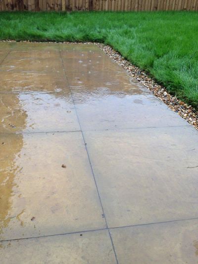 Snagging Survey in Chester showing waterlogged garden